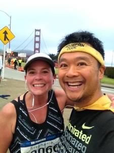 A hug from I Am Endorphin Dude at the SF Marathon