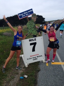 Celebrating Marathon #7 at Mile #7 of Big Sur with Julie, Marathon Goddess!